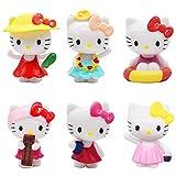 Juego de 6 Minifiguras para Decoración de Tarta de Feliz Cumpleaños de Hello Kitty, Suministros para Fiesta de Cumpleaños de Hello Kitty, Figuritas de Cupcakes para Decoración de Tartas y Coches(A)
