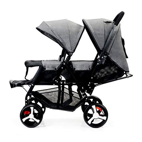 KPDVXA Twin kinderwagen draagbare dubbele stoel paraplu opvouwbare kind pasgeboren baby kinderwagen kinderwagen Off-road versie [ grijs] armleuning sectie zes wiel explosieveilige wiel