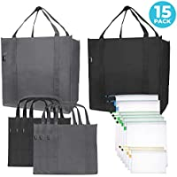 15-Pack Reusable Folding Grocery and Produce Bags
