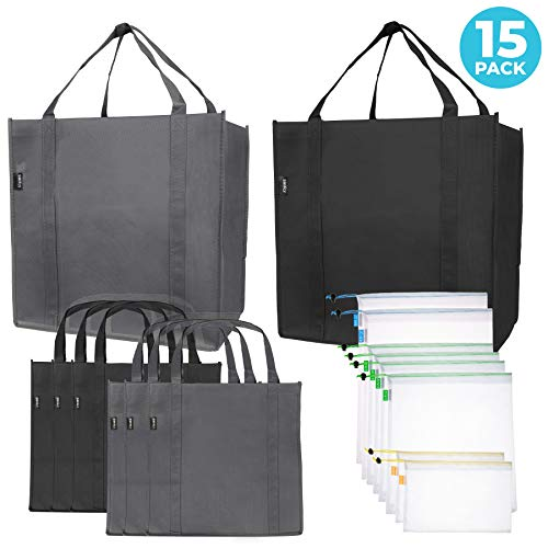 Reusable Folding Grocery and Produce Bags: 6 Large Fabric Totes with Handles...