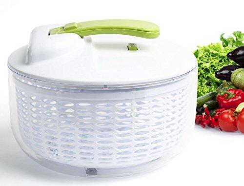 [Upgraded] Salad Spinner - Large 6.3 Quart Capacity BPA Free Lettuce Vegetable Dryer with Lid, Colander Basket Insert, Clear Storage Container | No-Mess | 1 Hand Operation | Dishwasher Safe