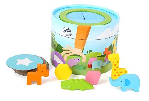Small Foot 12003 Memo Fühl-Box aus Holz, für Kinder ab 3 Jahren, Ertasten und Erfühlen von Formen und zum Zuordnen Spielzeug, Mehrfarbig