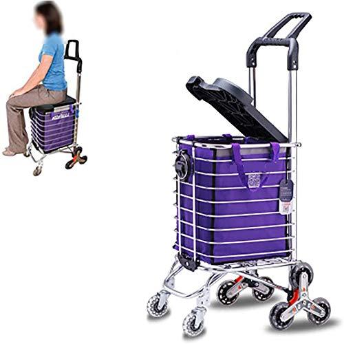 LHLYL-DP Carrito De Compras, Carrito De Supermercado Plegable 2 En 1 Carretilla De Mano con Cuerda Elástica Portavasos Incorporado Carrito Ligero para Subir Escaleras