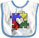 Rompecabezas del corazón del autismo Concienciación sobre el autismo Niño recién nacido Niños Toalla de saliva agradable para la piel Baberos para bebés-Azul