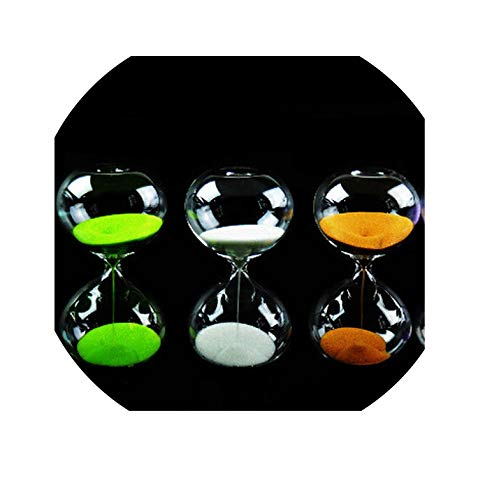 Glass Hourglass Sand Timer Clock Fashion Home Decor Birthday 5/15/30 Minute Love Valentine's Day Gift Ampulheta Reloj De Arena,White,30min 9x18.5cm