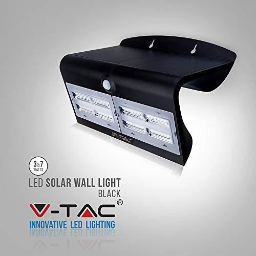 LED wandlamp 7W met zonnepaneel en sensor, zwart