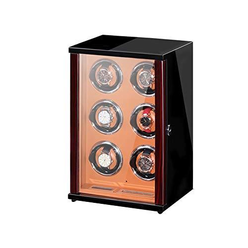 ZNND Watch Caja De Reloj Automática con Motor Silencioso 5 Modos Diferentes Rotación Iluminación LED Control Remoto Joyeria para Organizadora Y Exhibición (Size : 6+0)