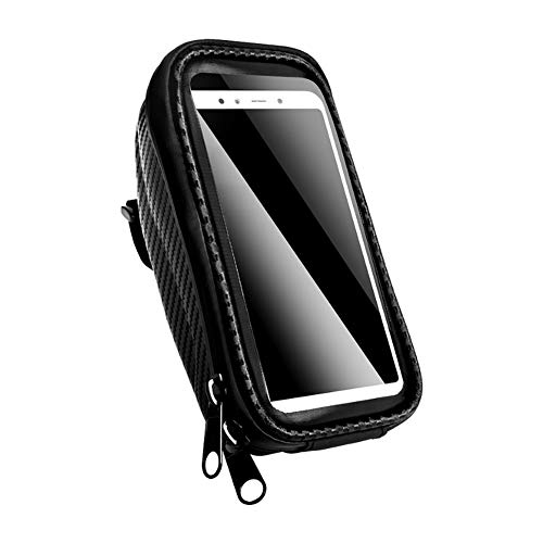 QIUBD Handlebar Bag, Mountain Sports Bike Front Beam Bag, Waterproof Touch Screen Mobile Phone Bag for Less Than 6.0-inch IPhone, Samsung, Huawei and Other Smartphones