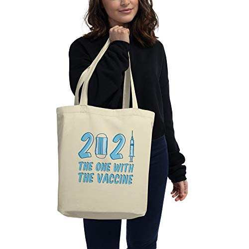 2021 The One with The Vaccine Eco Tote Bag, 100% Organic Cotton, Happy New Hope! Funny COV-ID 19 Gifts