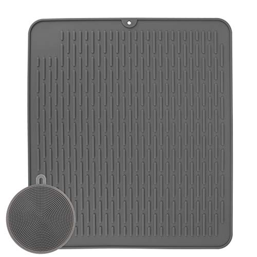 Dish Drying Mat Extra Large Silicone Draining Board Gray 45x40CM with Cleaning Brush Non-Slip Heat Resistant Mat for Tableware