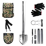 GRAMFIRE Survival Shovel Military Tactical Shovel Gear Camping Shovel Folding Multitool Camp Shovel Kit for Camping Hiking Backpacking