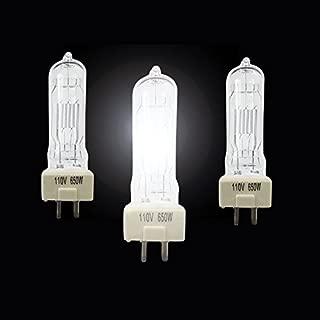 Alumotech Halogen 3pcs 650W Bulbs Fresnel Tungsten Spotlight Halogen Lamp For Dimmer Cord Studio Video Light For Camera Lighting Compatible Arri ligt ligting