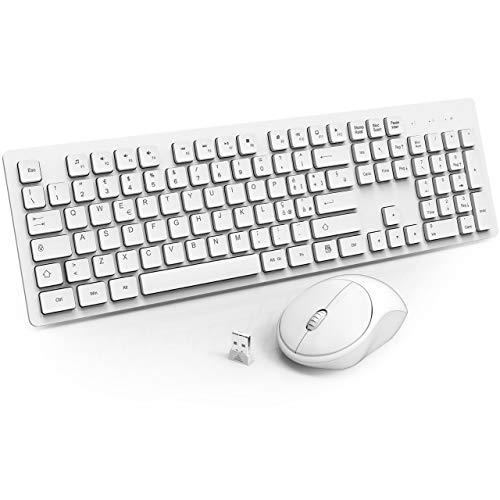 WisFox Combinazione di Tastiera Mouse Senza Fili, 2.4GHz Slim Full-Size Avanzato Combo Tastiera Mouse Wireless con Ricevitore Nano USB per Laptop, PC - Bianco