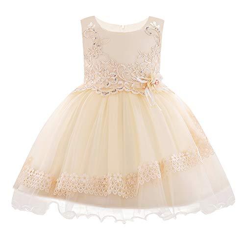 FONLAM Blumenmädchen Netzkleid Baby Mädchen Kleinkind Prinzessin Hochzeitsfeier Kleid Blumen-Spitzenkleid (Champagner, 3-6 Mois)