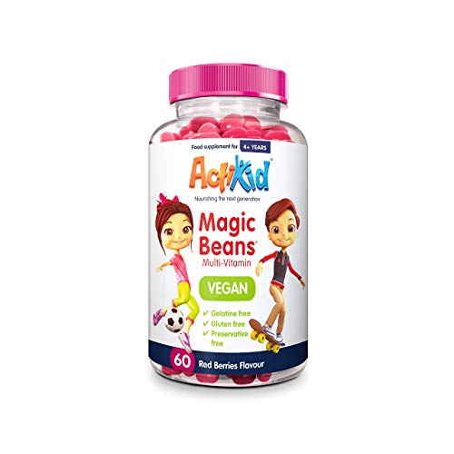ActiKid Magic Beans Vegan Multi-Vitamin 60x Red Berries Flavour | Gelatine Free | Children's Vitamin | Immunity Booster