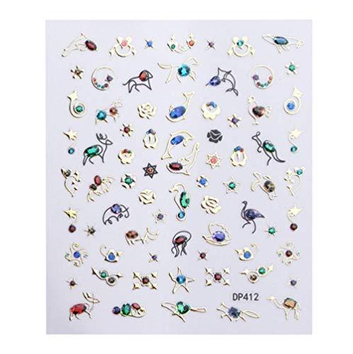 JSIYU Stickers Ongle 3D Relief Fleur Ongles Autocollant Ligne géométrique Lune Bronzage Curseur manucure Ongles Art décoration-Y02