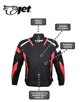 JET Blouson Veste Moto Cyclomoteur Scooter Homme Homologué Armure Textile Poids Léger De Base ECONOTECH (Rouge, S (EU 46-48))