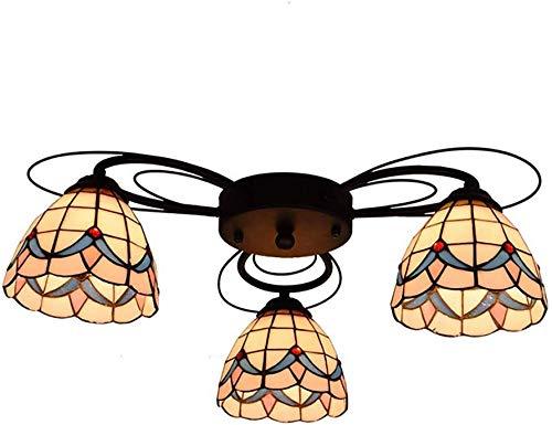 HongLianRiven meubels woonaccessoires plafondlamp Tiffany-art-kandelaar milieustandaarden eenvoudige Middellandse Zee International Safety Entertainment Places 3-8 (kleur: kleur, maat: 3 arms)