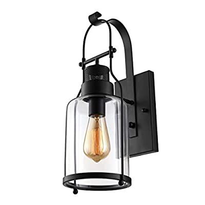 BAYCHEER Industrial Country Style 18'' H Wall Sconce Lighting Loft Farmhouse Wall Lights with Seeded Glass Shade Industrial Antique Wall Sconce Lamp for Barn Kitchen Bedroom Living Room Black