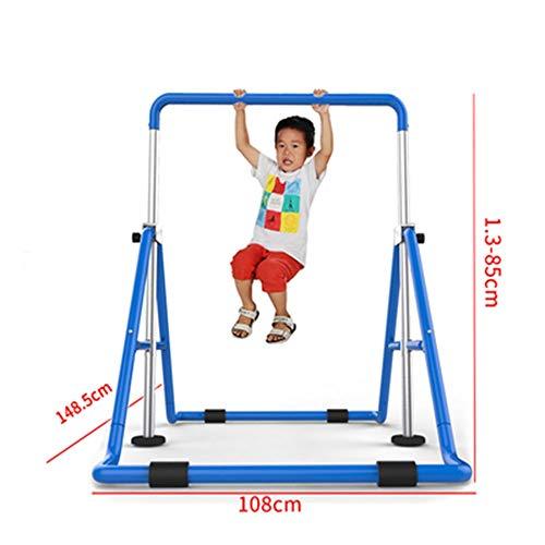 WANGJIANG Indoor Folding Unterhaltung for Kinder Klimmzüge Fitnessgeräte Kindergarten Home Kinder Heighten Reck (Color : Blue)