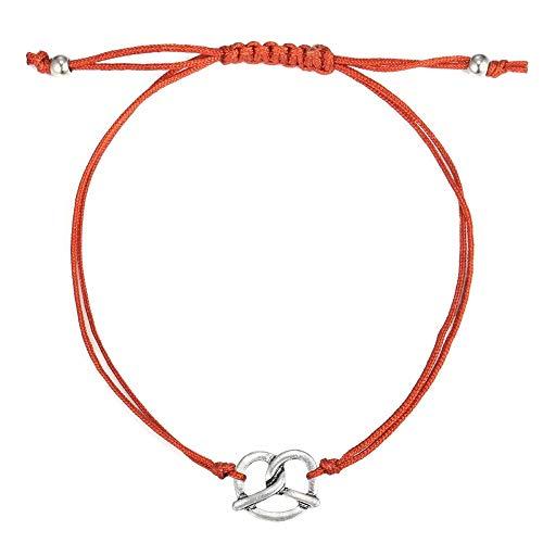 Alpenklunker Armband Brezn Brezel Tracht Oktoberfest Wiesn Dirndlschmuck 12 Farben passend zum Dirndl Farbe Rosa