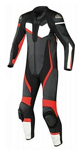 Motorcycle New Red/Black One piece Track Racing Suit CE Approved Protection (L)