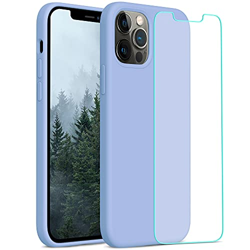 YATWIN Compatibile con iPhone 12 Cover 6,1'', Compatibile con iPhone 12 PRO Cover Silicone Liquido + Vetro Temperato, Protezione Completa del Corpo con Fodera in Microfibra, Azzurro