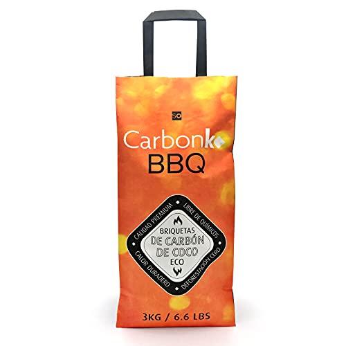 CarbonKo BBQ - Carbón para Barbacoa, Hecho de Coco de Primera Calidad. Producto Ecológico, sin químicos ni deforestación. Carbón de Coco, Calor Duradero y Estable. (3 kg)