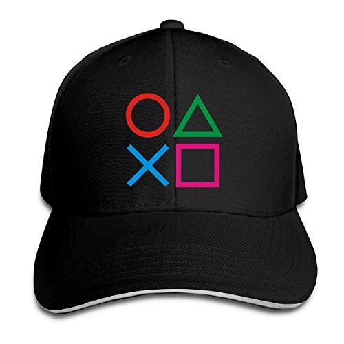 Hui-Shop Cappello da Baseball per Playstation Joypad da Uomo Regolabile con Visiera, Cappello da papà Nero