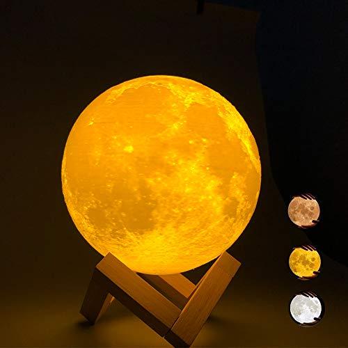 Lampada Luna 3D Stampata,ACED 15cm/5,9'luce notturna led,3 colori lampada lunare con telecomando,USB ricaricabile Decorativa luna moon light,Per decorazione e regali,Regalo per Feste Compleanno