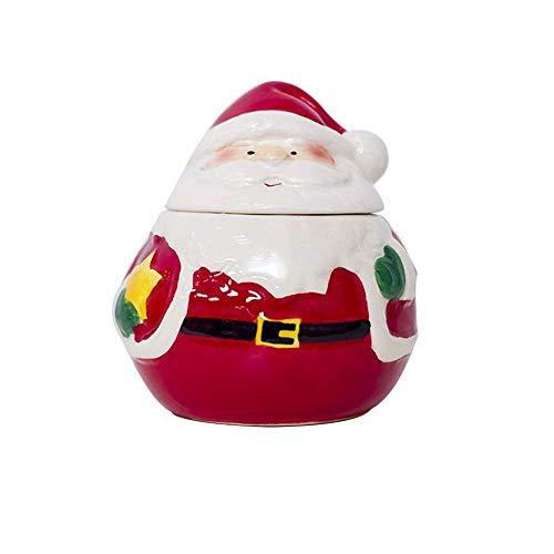 lujiaoshout Pot de Noël Assaisonnement Céramique Cuisine Décoration de Noël Assaisonnement Céramique Creative Box Père Noël Pot en céramique Pot Décoration de Noël