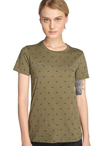 Champion Crewneck T-Shirt, Verde (IRL/Allover Gp5518 Gl505), Medium Donna