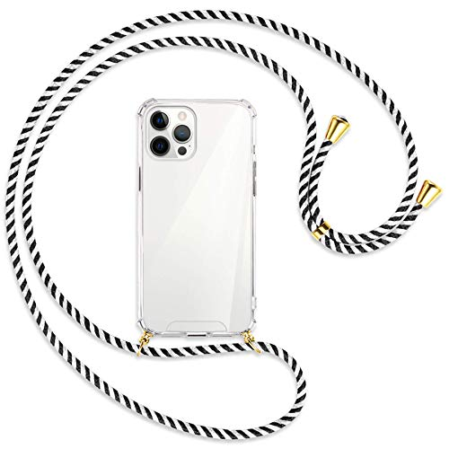 mtb more energy Collar Smartphone para Apple iPhone 12 Pro MAX (6.7'') - Black & White/Oro - Funda Protectora ponible - Carcasa Anti Shock con Cuerda Correa