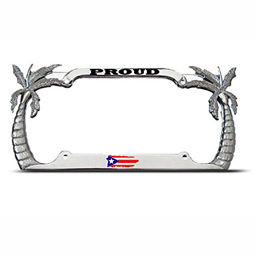 Moon Proud Puerto RICO Palm Tree License Plate Frame Puerto Rican Flag Pride Tag Perfect for Men Women Car garadge Decor