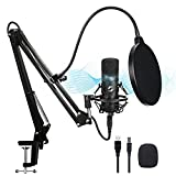 USB Microphone Kit, Professional Streaming Podcast PC Condenser Computer Mic for Gaming, YouTube Video, Recording Music, Voice Over, Karaoke, Studio Mic Bundle with Adjustable Arm Stand Shock Mount