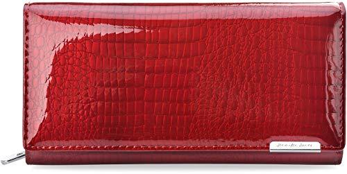 Damen Portemonnaie Naturleder lackiert Jennifer Jones Prägung RFID Secure rot