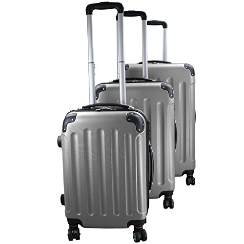 Set di 3 valigie rigidi trolley da viaggio Experience 2.0 360° ruote doppie di BB Sport Set di 3 valigie rigidi trolley da viaggio Experience 2.0 360° ruote doppie, Colore:silver grey