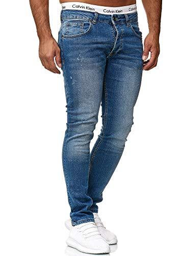 OneRedox Designer Herren Jeans Hose Slim Fit Jeanshose Basic Stretch 601 Old Blue Used 34/32