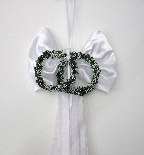 Unbekannt Kirchenschmuck Bankschleife Stuhlschleife Vase weiß Ringe Hochzeit