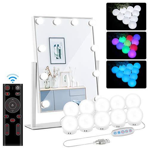 CicoYinG Spiegelleuchte LED Dimmbar Hollywood Stil Schminktisch Licht Spiegel Kosmetik Lichter 10 LED Lampen Farbige für Make Up Festival Atmosphäre
