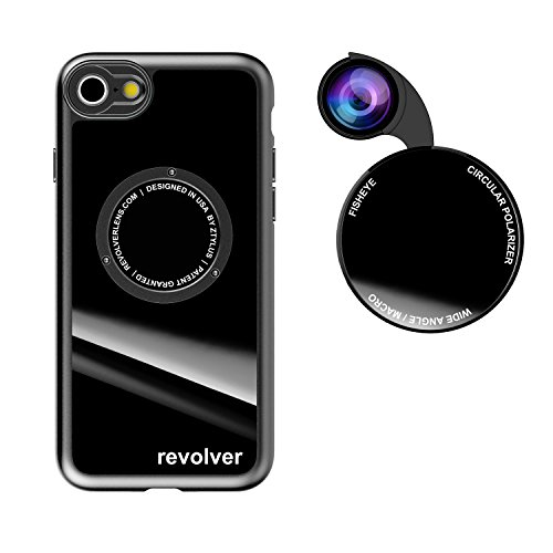 Ztylus Gloss Revolver M Series Camera Kit: 4 in 1 Lens with Case for iPhone 7/8 / SE 2020 – Fisheye Lens, Wide Angle Lens, Macro Lens, CPL (Gloss Black)