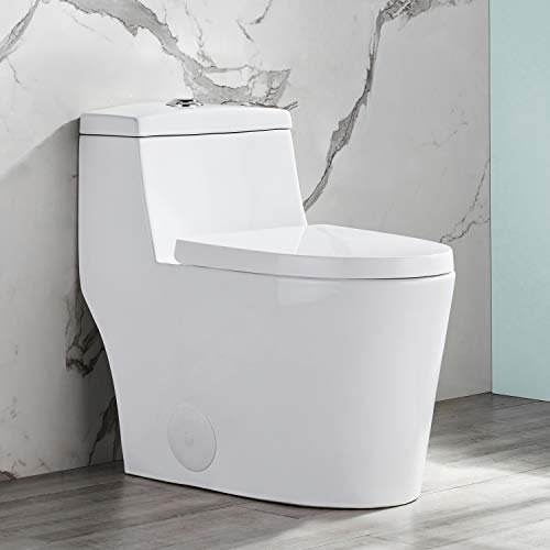 Modern Comfort Height Dual Flush Elongated One-Piece Toilet with Soft Closing Seat, High-Efficiency Supply, Luxury White Contemporary Ceramic