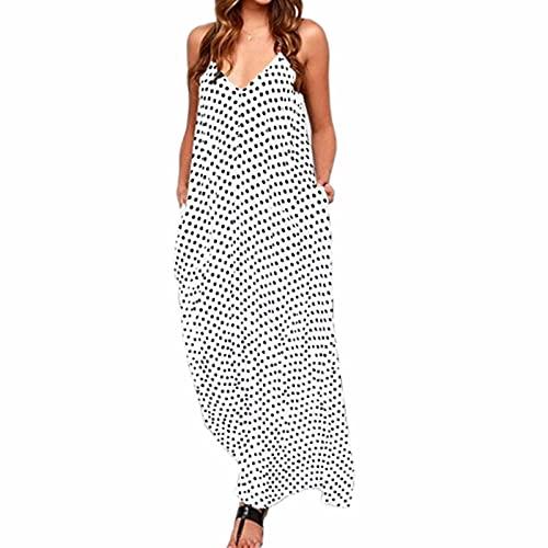 QinzQuic Mujer Wave Pocket Vestido con Big Swing Vestido Largo Playa Gown Vestido Sling Sunvestido White-5XL