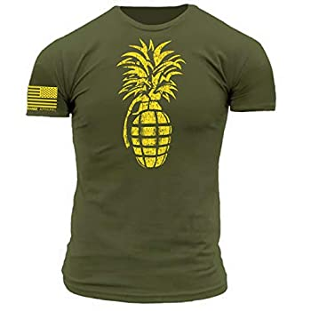 Pineapple Grenade Stencil Military Green with Yellow Print Premium Athletic Fit  XXX-Large