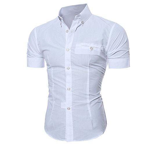 Litetao Men Business Dress Shirt Luxury Slim Fit Short Sleeve Casual Lapel Button Top (White, L)