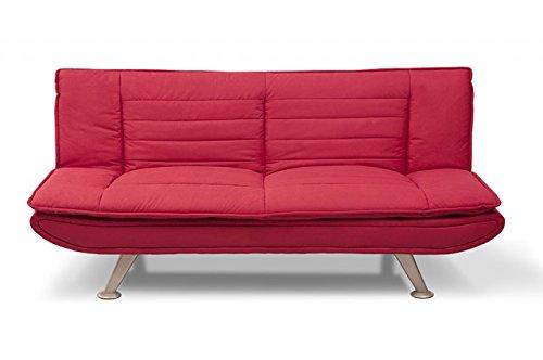 Divano letto in microfibra rosso - Divanetto 3 posti mod. Iris