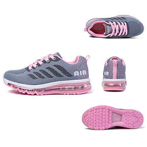 Air Zapatillas de Running para Hombre Mujer Zapatos para Correr y Asfalto Aire Libre y Deportes Calzado Unisexo Gray Pink 42