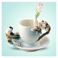 ソーサーとスプーンヨーロッパのクリエイティブティーカップが付いているセラミックカップマギー梅の花の梅の花カップ (Capacity : 175ml)