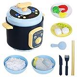 CestMall Juego de juguetes de cocina, accesorios de cocina con simulación de arroz y varios alimentos de juego, juguetes de cocina realistas con simulación de vapor/luz/música, para niños y niñas