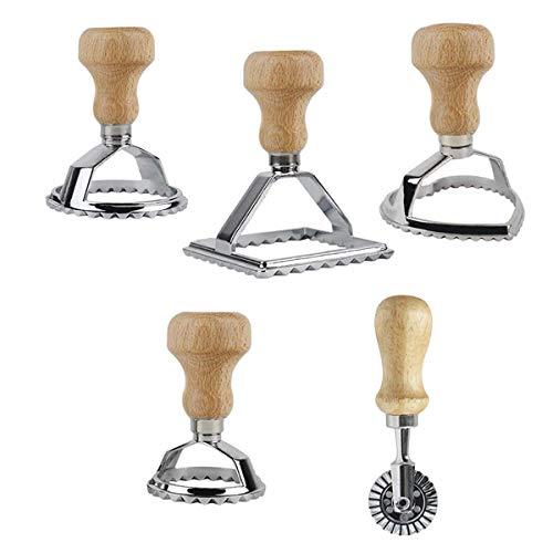 QAQGEAR 5 PCS Stampo per stampi per stampi per ravioli con manico in legno e bordo scanalato con rotella a rulli 1 Rotella per tagliapasta pasticcera Macchina per pasta Attacco cucina ravioli